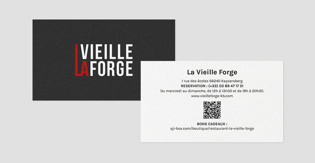 Cartes de visite branding restaurant la vieille forge